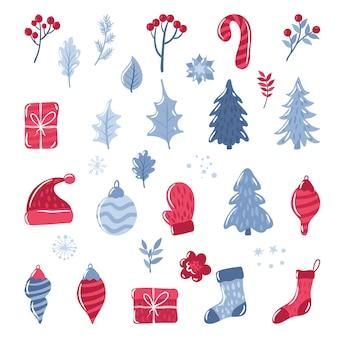 Conjunto de elementos navideños, lindo con estilo doodle, aislado sobre fondo blanco.