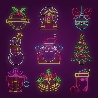 Conjunto de elementos navideños de neón creativo