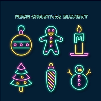 Conjunto de elementos navideños de neón