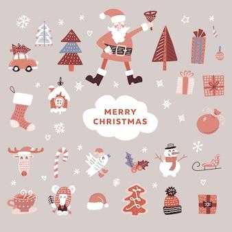 Conjunto de elementos navideños: personaje de santa, árboles de navidad, muñeco de nieve