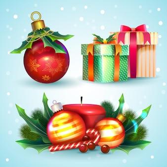 Conjunto de elementos navideños realistas