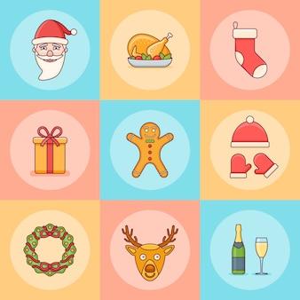 Conjunto de elementos navideños. santa claus, caja de regalo, corona, calcetín, ciervos y otros.
