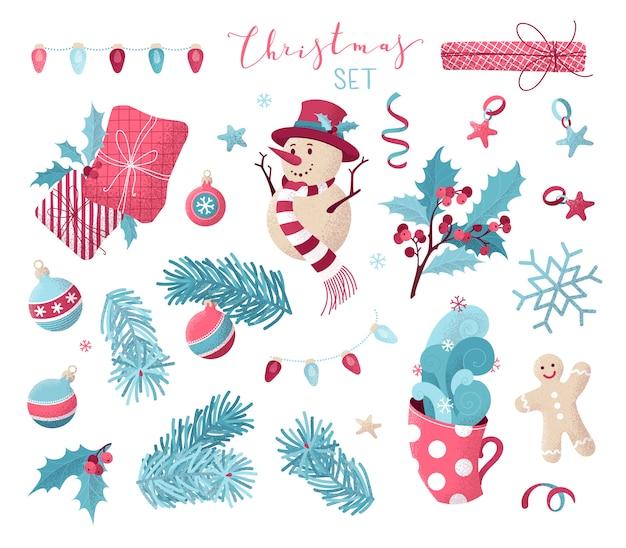 Conjunto de elementos navideños con textura punteada dibujada a mano.
