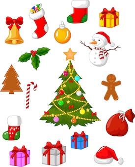 Conjunto de elementos navideños