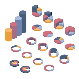 Conjunto de elementos de negocio, infografías y diagramas.