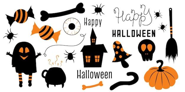 Conjunto de elementos negros y naranjas halloween está aislado en un fondo blanco caramelo de bruja fantasma