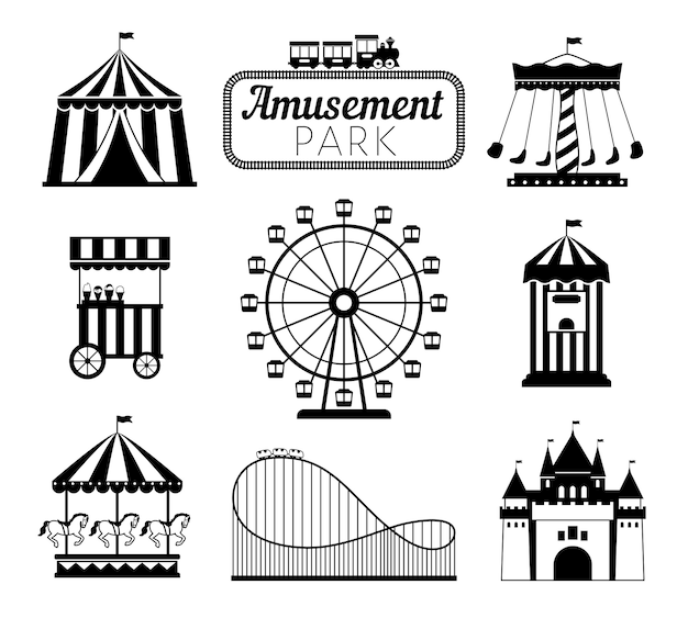 Conjunto de elementos negros del parque de atracciones.