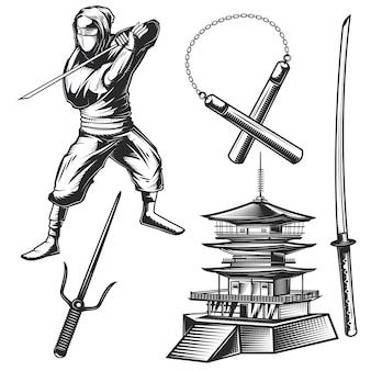 Conjunto de elementos ninja.