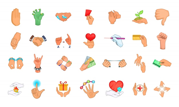 Conjunto de elementos de objeto de mano. conjunto de dibujos animados de elementos del vector mano objeto