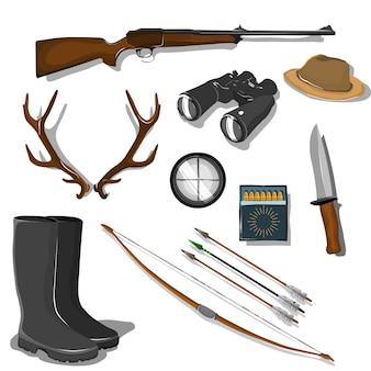 Conjunto de elementos y objetos de caza en estilo de dibujos animados