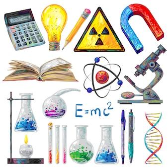 Conjunto de elementos de objetos científicos y fórmulas