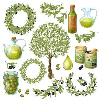 Conjunto de elementos orgánicos de oliva