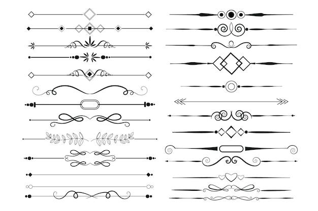 Conjunto de elementos ornamentales caligráficos