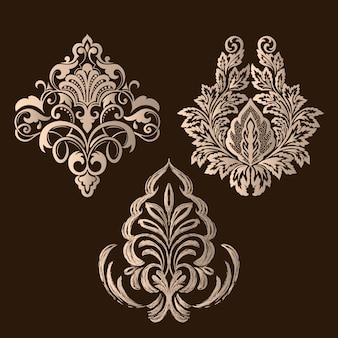 Conjunto de elementos ornamentales de damasco. elegantes elementos florales.