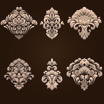 Conjunto de elementos ornamentales de damasco