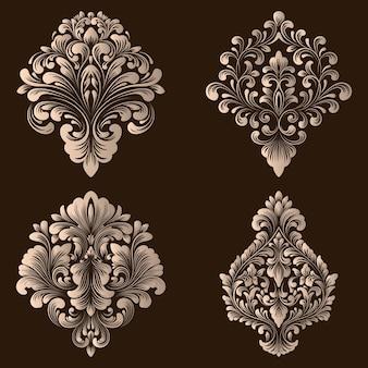 Conjunto de elementos ornamentales de damasco.