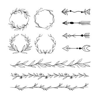 Conjunto de elementos ornamentales decorativos
