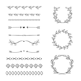 Conjunto de elementos ornamentales dibujados a mano