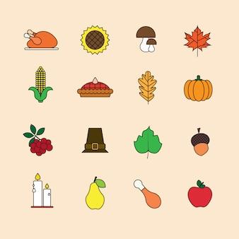 Conjunto de elementos de otoño día de acción de gracias concepto de cosecha tradicional de otoño