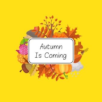 Conjunto de elementos de otoño de dibujos animados y hojas