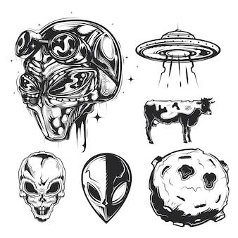Conjunto de elementos ovni (extraterrestres, platillo volador, planeta, etc.)