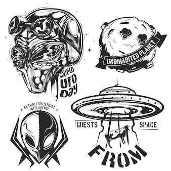 Conjunto de elementos ovni (extraterrestres, platillo volante, planeta, etc.) emblemas, etiquetas, insignias, logotipos.