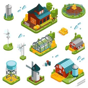Conjunto de elementos de paisaje de granja