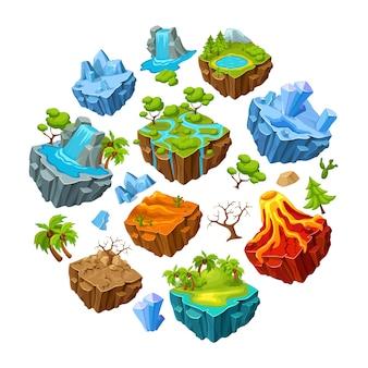 Conjunto de elementos de paisaje y islas de juego