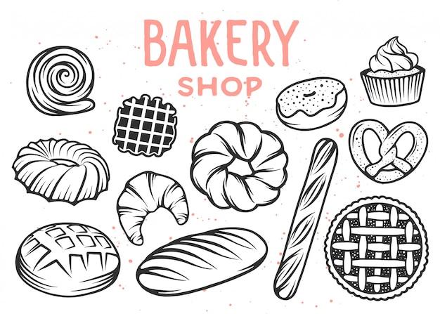 Conjunto de elementos de panadería grabados. pasteleria.