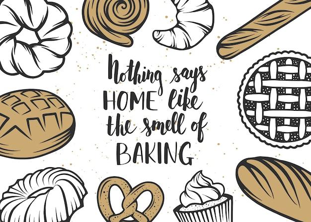 Conjunto de elementos de panadería y letras escritas a mano.