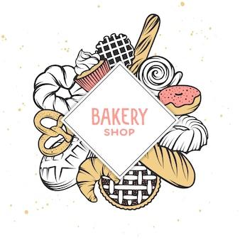 Conjunto de elementos de panadería vector grabado.