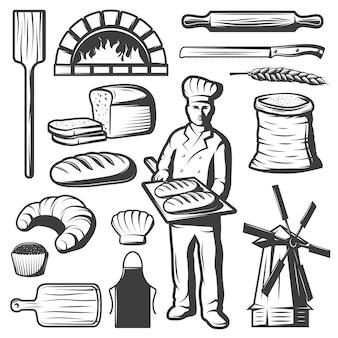 Conjunto de elementos de panadería vintage