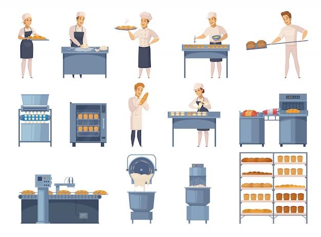 Conjunto de elementos de panadería