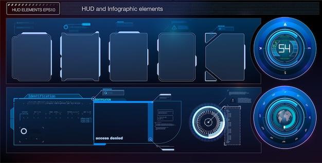 Conjunto de elementos de pantalla de interfaz de usuario futurista hud ui gui. pantalla de alta tecnología para videojuegos. concepto de ciencia ficción.