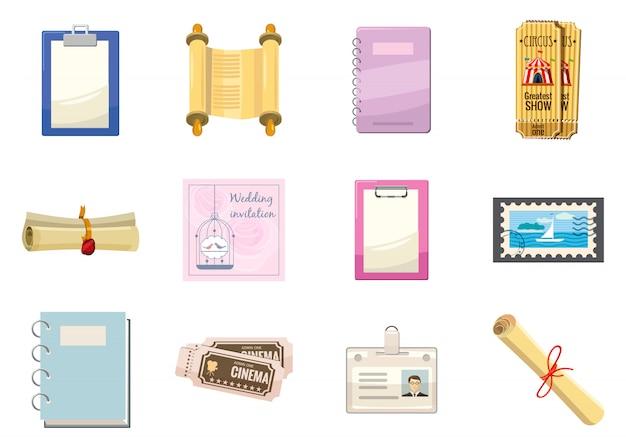 Conjunto de elementos de papel. conjunto de dibujos animados de papel