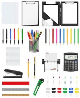 Conjunto de elementos de papelería ilustración vectorial