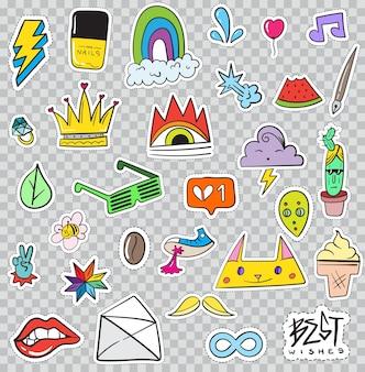 Conjunto de elementos de parches como flor, corazón, corona, nube, labios, correo, diamante, ojos. vector dibujado a mano. linda colección de pegatinas de moda. insignias y pines del bosquejo del arte pop del doodle.