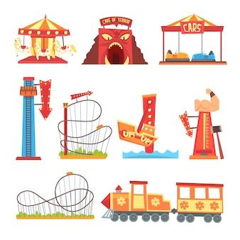 Conjunto de elementos del parque de atracciones, ilustraciones de dibujos animados coloridos de atracción de parque de atracciones sobre un fondo blanco