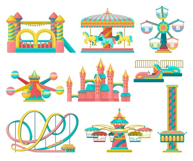 Conjunto de elementos del parque de atracciones, tiovivo, trampolín inable, torre de caída libre, castillo, carrusel con caballos, montaña rusa ilustración sobre un fondo blanco