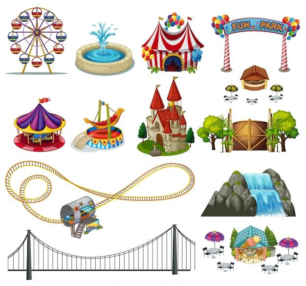 Un conjunto de elementos de parque temático