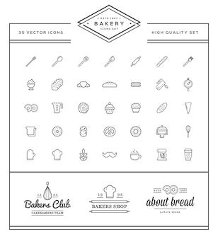 El conjunto de elementos de pastelería de panadería vectorial y la ilustración de iconos de pan se pueden utilizar como logotipo o icono en calidad premium