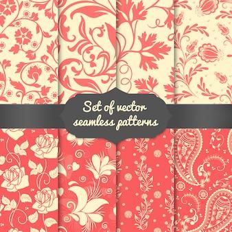 Conjunto de elementos de patrones sin fisuras de flor. elegante textura de lujo para fondos de pantalla.