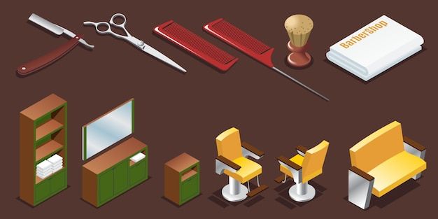 Conjunto de elementos de peluquería isométrica con maquinillas de afeitar, tijeras, cepillo de afeitar, toalla y muebles de interior aislados