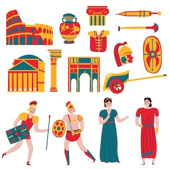 Conjunto de elementos y personajes del antiguo imperio roma