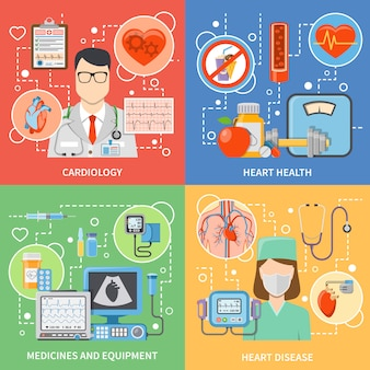 Conjunto de elementos y personajes planos de cardiología.