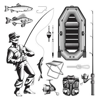 Conjunto de elementos de pesca monocromo