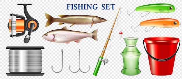 Conjunto de elementos de pesca realistas con aparejos de trucha arco iris y lucio aislado en la ilustración de superficie transparente