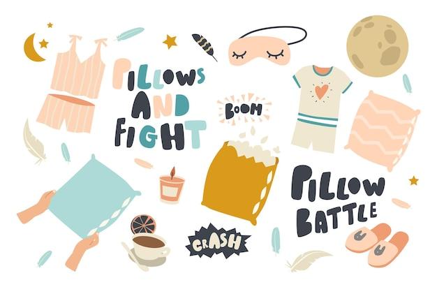 Conjunto de elementos pillows fight o battle theme