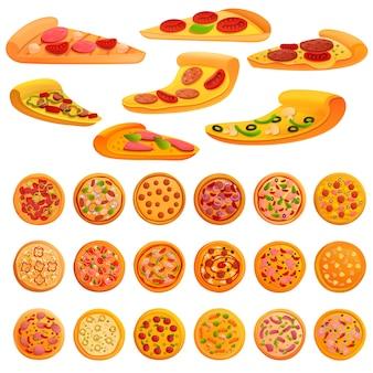 Conjunto de elementos de pizza, estilo de dibujos animados
