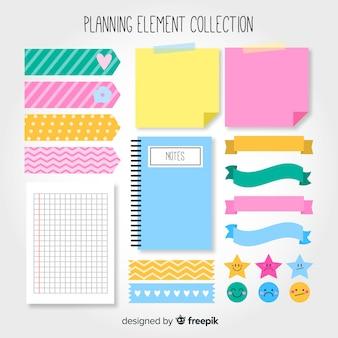 Conjunto de elementos de planificación creativos